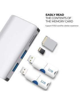 USB Cハブイーサネットポート、8K HDMI、USB 1ポート、USB 4ポート、SD / TFカードリーダー、MacBook / Pro / Air用USB-C PD充電ポートなどを備えた3.0-in-2.0コンパクトタイプCアダプター