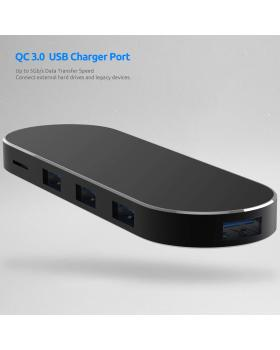 USB C Hub Adapter Aluminum Slim USB C 7-in-1 Reader with USB 3.0 Ports TF SD Card Reader Type C Anti-wear Mirror Surface Power Delivery Compatible for MacBook Pro Phone Other USB C Devices