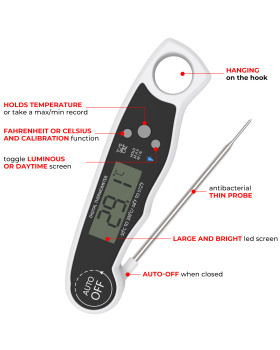 Meat Thermometers, Digital Food Cooking Thermometer Barbecue Thermometers Kitchen Thermometers Instant Read Meat Thermometer with Long Probe