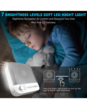 White Noise Sound Machine NganHing Sleep Therapy with Non-Looping Soothing Sounds for Baby Kids Adults Sleeping