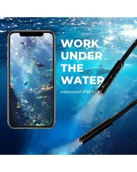 ワイヤレス内視鏡カメラ、WiFi内視鏡検査1200p超クリア伸縮ロッド柔軟な蛇カメラAndroid iOSタブレット用防水内視鏡カメラ