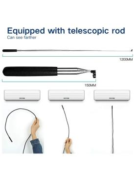 Wireless Endoscope Camera, WiFi Endoscope Inspection 1200p Ultra Clear Telescopic Rod Flexible Snake Camera Waterproof Endoscope Camera for Android iOS Tablet
