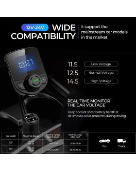 Wireless in-Car Bluetooth FM Transmitter Radio Adapter Car Kit W 1.44 Inch Display Supports TF/SD Card and USB Car Charger for All Smartphones Audio Players