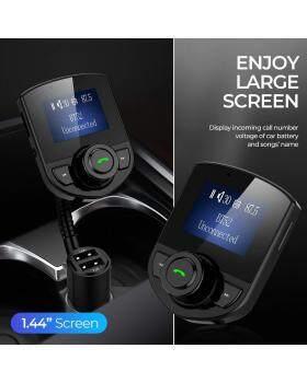 ワイヤレス車載Bluetooth FMトランスミッターラジオアダプターカーキットW 1.44インチディスプレイは、すべてのスマートフォンオーディオプレーヤーでTF / SDカードとUSBカーチャージャーをサポート