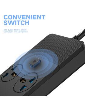 トラベルパワーストリップ6.5ftサージプロテクターパワーストリップ4 USBポート付き6コンセントデスクトップ充電ステーション5V / 3.1A最大充電現在の2500W 16A家庭、クルーズ船、オフィス、旅行用