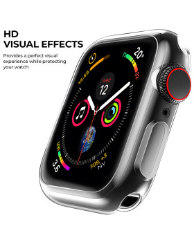 [2 Pack] Ultra-Thin Case for Apple Watch Screen Protector, Suitable for 42mm Series1/2/3 HD Clear Touch Screen Protector All Around Soft TPU Bumper Cover Black & Transparent