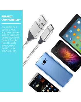 タイプCケーブル、beegod USB Cケーブル高速充電ケーブル[5 Pack]充電ケーブルSamsung Galaxy S9 / S9 + / S8 / S8 Plus / Note 9、Google Pixel XL、LG V8 G20 G6グレー用のUSBデータ同期コードのサポート