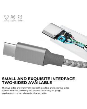 USB Type Cケーブル、4パック(3ft 3ft 6ft 6ft)USB AからUSB-Cへの高速充電ケーブルSamsung Galaxy、Google Pixel、Nintendo Switch、Nexus-Silver用のナイロン編組コード