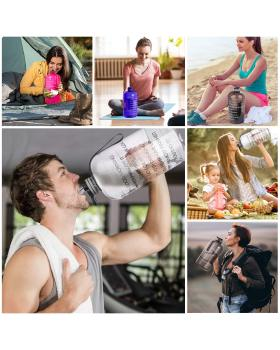 Gallon Water Bottle Portable Water Jug - Fitness Sports Daily Water Bottle with Motivational Time Marker, Leak-Proof Gym Bottle for Outdoor Camping