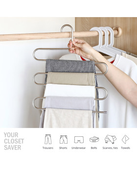 Vidgoo Pants Hangers 6 Pack S-Shaped Non Slip Updated Hangers 5 Layers Closet Space Saver for Jeans Scarf Tie Clothes(6-Pack)