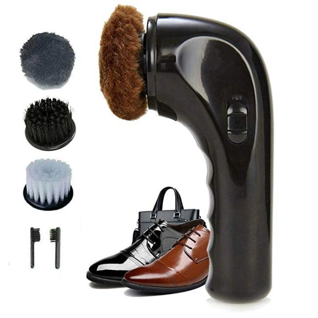 Electric Shoe Shine Kit, Electric Shoe Polisher Brush Shoe Shiner Dust Cleaner Portable Wireless Leather Care Kit for Shoes, Bags, Sofa (Black)