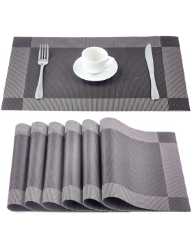 MMIZOO Placemats, PVC Place Mat [6 Pack] Washable Stain-Resistant Anti-Slip Heat Insulation Mats - Coffee