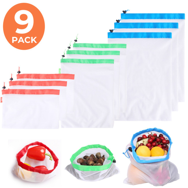 [9 Pack] Reusable Produce Bags Eco friendly Extra Strong See Through Washable Premium Mesh for Fruits Veggies, Toggle Tare Weight Color Tag (3 Small, 3 Medium & 3 Large)