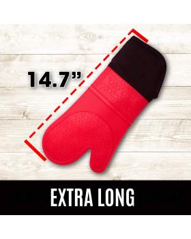 Extra Long Professional Silicone Oven Mitt - 1 Pair - Extra Long Oven Mitts with Quilted Liner