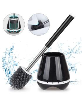 Toilet Brush and Holder Set for Bathroom with Soft Silicone Bristle Sturdy Cleaning Toilet Bowl Brush Set for Bathroom Storage and Organization - Tweezers Included (Black)