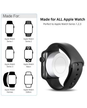 Apple Watchシリーズ1/2/3/4と互換性のある充電ケーブルを見る-磁気充電ケーブル高速ポータブル時計充電器-ホワイト