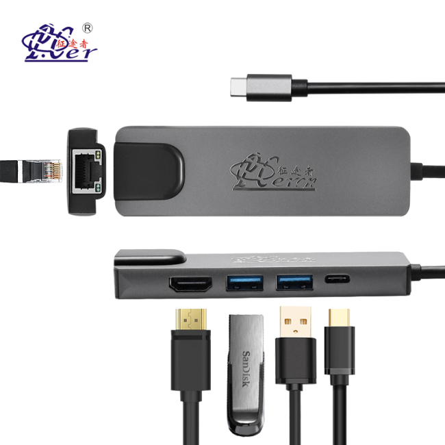 PCER Black Multi-function Type-C Hub to HDMI & LAN & USB Adapter 5 in 1 Converter