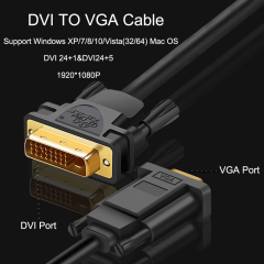 PCER DVI 24+5 to VGA Cable Adapter DVI Male to VGA Male Converter Digital Video Cable DVI VGA cable PC Monitor HDTV Projector