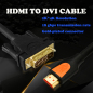 PCER HDMI to DVI Cable DVI to HDMI Cord Audio Video Cable DVI HDMI male to male cable For PC Monitor HDTV Projector DVI24+1 Male