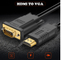 PCER HDMI to VGA Cable HDMI VGA Cord Audio Video Cable HDMI male to VGA male cable 1920*1080P For PC Monitor HDTV Projector