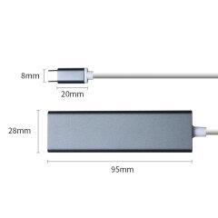 PCER USB C 3.1 Ethernet Lan Adapter 3 Port USB Type C Hub 10/100/1000Mbps Gigabit Ethernet USB 3.0 hub Network Card for MacBook
