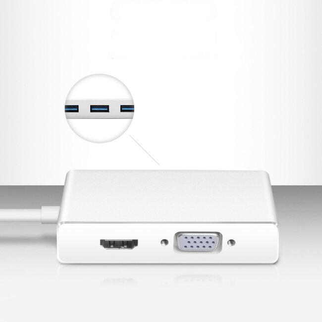 PCER USB C Hub Docking Station USB C to HDMI 3*USB3.0 VGA Adapter USB3.0 HUB for MacBook Samsung Galaxy type c HUB USB C dongle