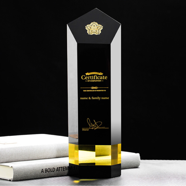 Custom design wholesale special cylinder crystal trophy /black trophies and awards carved etched for souvenirs gifts