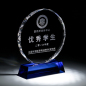 wholesale high-quality blue round crystal trophy custom logo with base for business gift