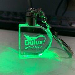 Credit guarantee Custom 3D Laser Engraving D shape logo LED light crystal Glass Keyring for Souvenir gift