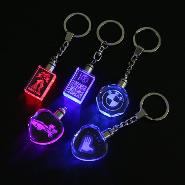 Credit guarantee Custom 3D Laser Engraving D shape logo LED light crystal Glass Keyring for Souvenir gift