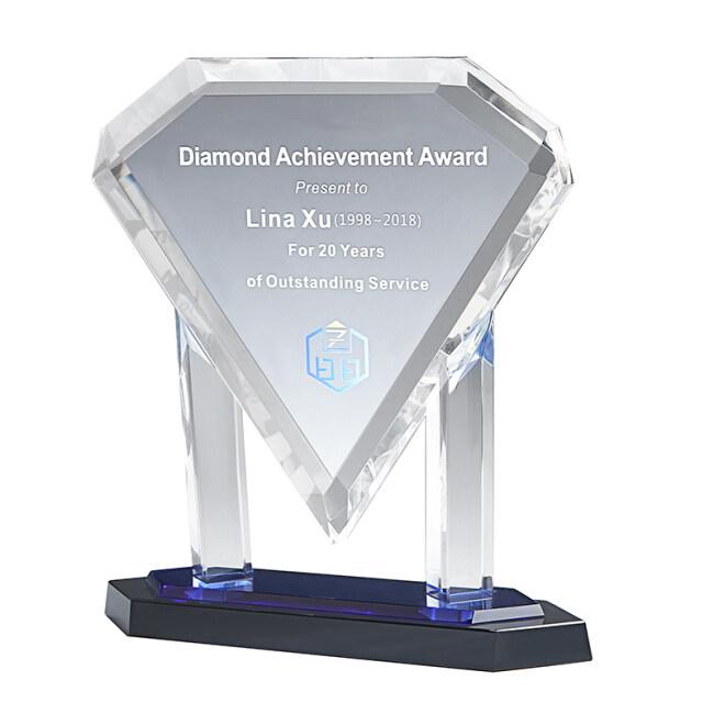 Customize Fashion Wholesale K9 High Quality Frame Glass Award Crystal Diamond Awards