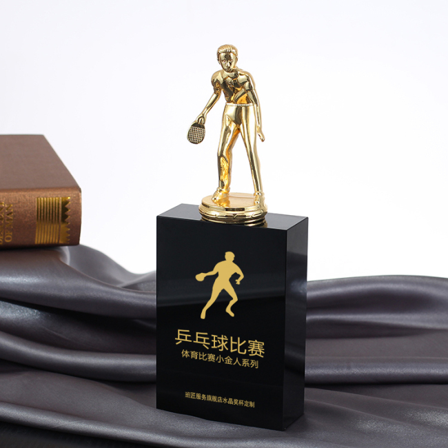 Metal crystal trophy custom creative lettering  Table tennis competitions championship souvenir sports trophy
