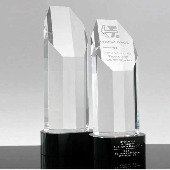 Wholesale k9 Crystal Trophy and Awards Clear Optical Crystal Column Awards Crystal Trophy with black base