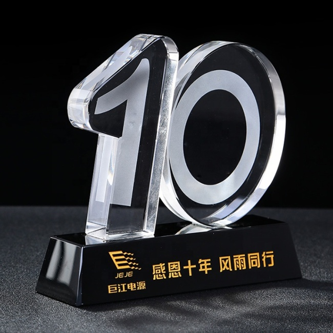 Wholesale high quality glass trophy custom10th anniversary crystal trophy souvenir