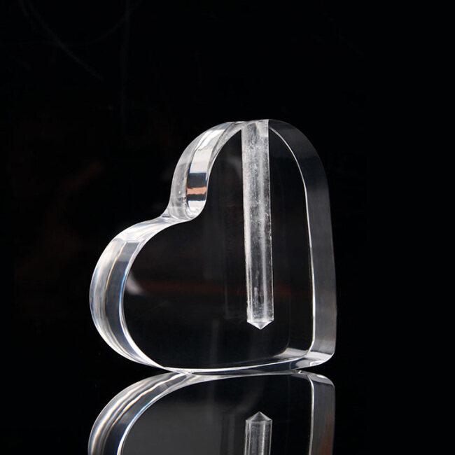 Wholesale Heart Shape Crystal Crafts Glass Awards Clear Optical Crystal Awards Crystal Trophy As Rose Vase