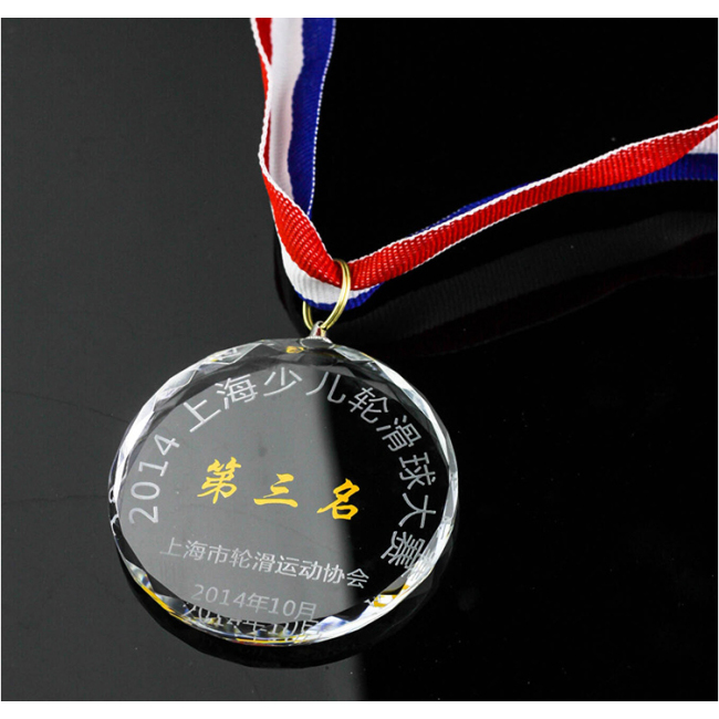Custom printing 3D round shape crystal medal