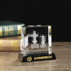 Custom 3d laser engraved K9 crystal cube Mechanical model for anniversary
