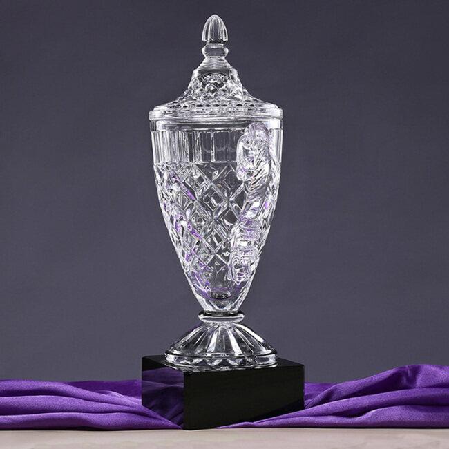 Black pedestal crystal trophy, 3D cup shape crystal trophy apply to enterprise souvenir