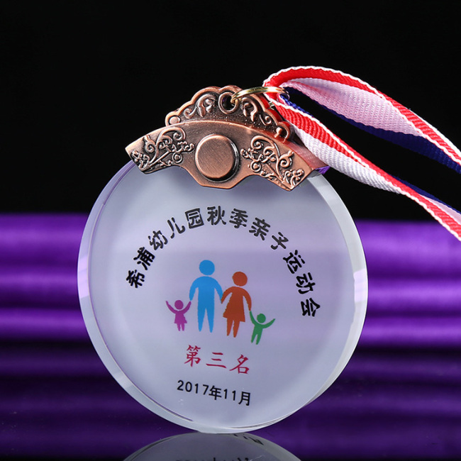 Custom printing 3D round shape crystal medal apply to parent-child game