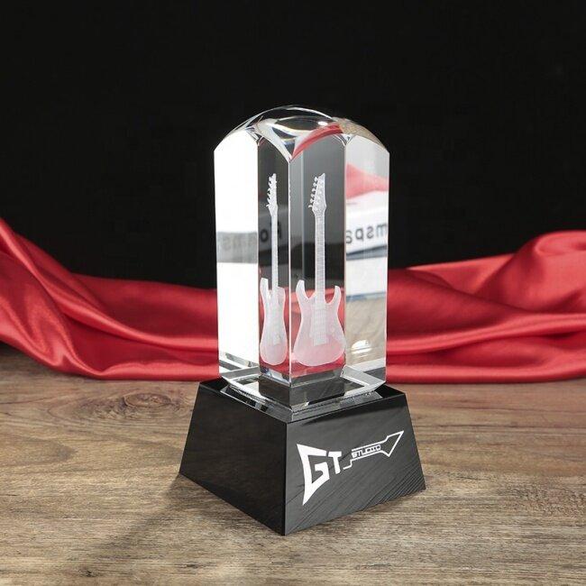 custom 3d crystal cube laser engraving guitar model