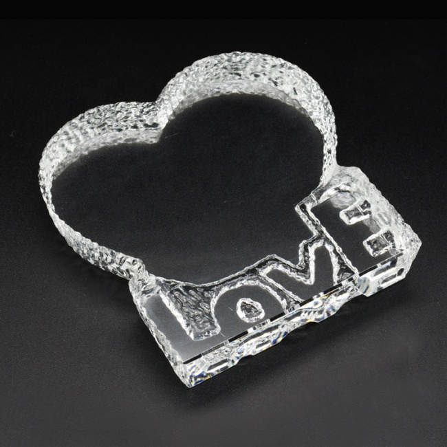 Wholesale blank K9 heart-shaped crystal iceberg laser engraving supplies for custom crystal photo frame souvenir gifts