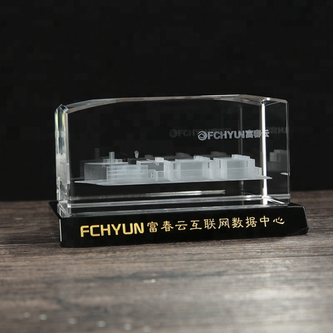 Laser engraved crystal cube for custom 3D architectural model souvenirs