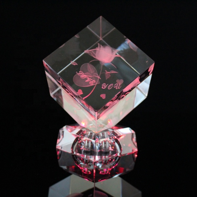 customized laser engraving crystal glass home decoration cube crafts birthday gift