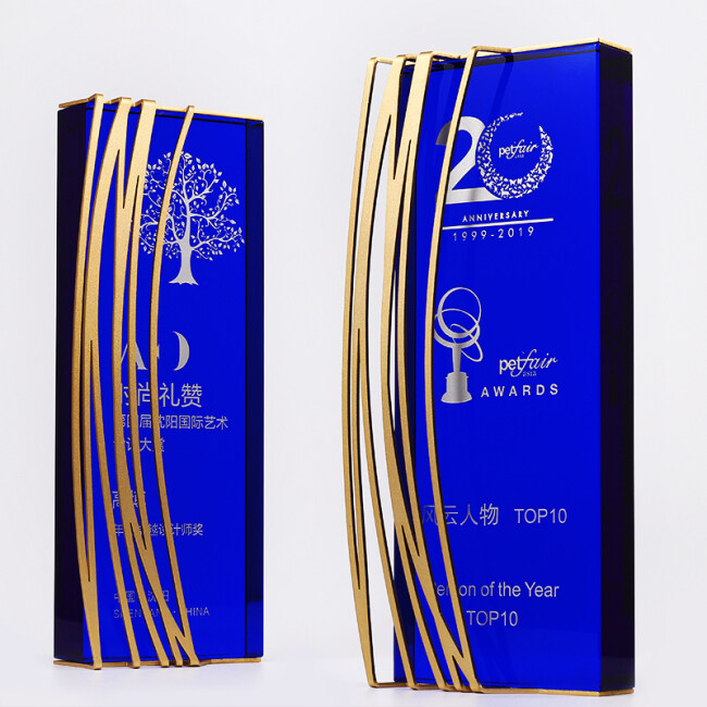 Custom High Quality Blue Award Crystal Trophy with Golden Metal Decor