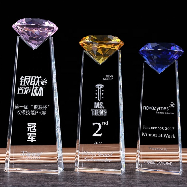 high quality K9 Crystal glass Diamond Trophy Customized for Award Gifts