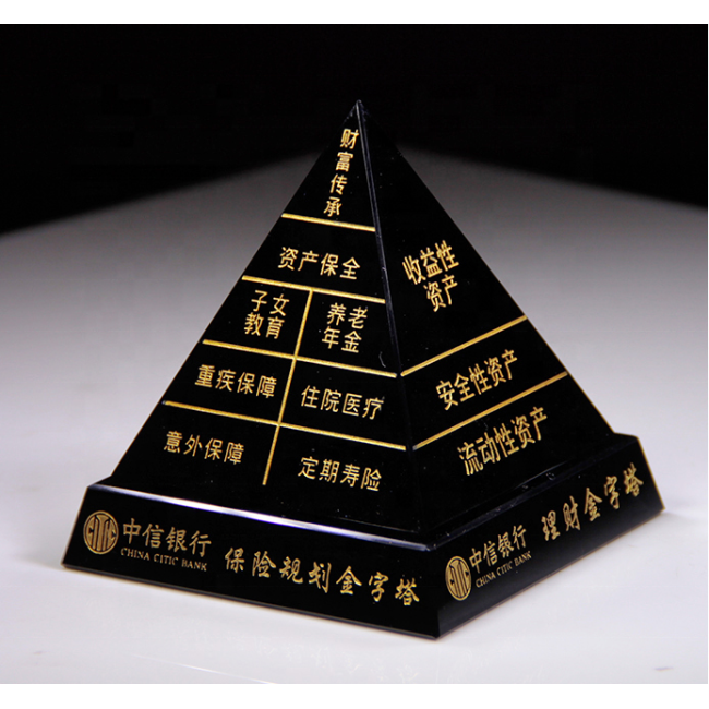 high quality black crystal pyramid Custom crystal trophy tower