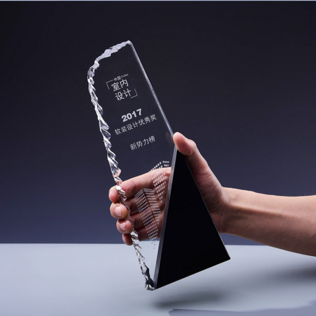 Industry wholesale crystal trophy irregular crystal trophies and awards for business gifts