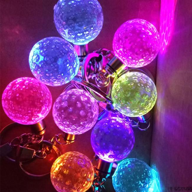 HDW Wholesale Golf crystal Keychain with led light custom logo Glowing crystal keychain for Business gifts