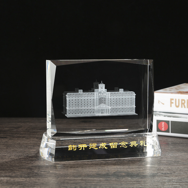 Custom 3d laser engraving K9 crystal cube building model for anniversary