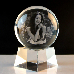 Wholesale black K9 glass crystal ball custom 3d laser engraving crystal ball with LED base